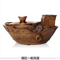 复古创意中式浮雕做旧带盖大号烟灰缸摆件客厅装饰烟缸