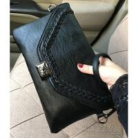 包包新款 编织设计洗水软手包女包单肩斜挎包小包 手拿 8635黑色