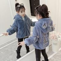 女童外套秋韩版女宝宝洋气上衣秋儿童秋冬装潮加厚毛毛衣 蓝色 偏小一码