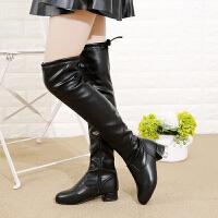 女童靴子冬季2018新款韩版高筒皮靴公主长筒靴儿童过膝靴加绒冬靴 P106【加绒】黑色