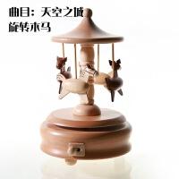 创意原木手工小熊摩天轮八音盒旋转木马音乐盒送女生儿童生日礼物
