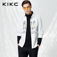 【商场同款】kikc中袖衬衫男2018春季新款时尚印花纯棉衬衣男潮流