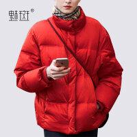 【新年狂欢到手价:388.8】魅斑时尚红色立领羽绒服2019冬季新款女装欧美长袖加厚面包服外套