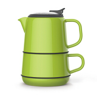[当当自营]台湾Artiart 城堡创意不锈钢茶滤无铅陶瓷茶壶+茶杯+茶托/碟三件套装 DRIN001C 绿色