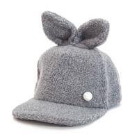 女秋冬天可爱棒球帽 毛绒耳朵帽子 青年 保暖鸭舌帽