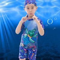 儿童泳衣男童泳裤男宝宝幼儿分体游泳衣卡通男孩小童泳装泳帽套装