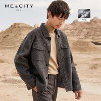 【1件3折价:329.7】MECITY男装2019冬新款手工双面呢衬衫式夹克男士羊毛休闲外套