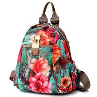 2018春季新款牛津布双肩包时尚印花潮女包多用旅行背包帆布学生包