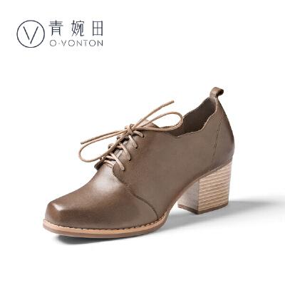 青婉田粗跟单鞋女2018春季新款系带女鞋中跟百搭真皮方头小皮鞋女尺码正常,脚感舒适,头层牛皮