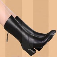 秋冬季真皮靴子女中筒靴粗跟短靴中跟中年妈妈鞋春秋单靴皮靴大码SN1019