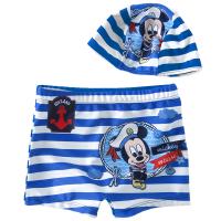 条纹儿童泳裤 男童平角短裤泳装 宝宝小孩游泳衣 温泉 【蓝色】 含泳帽