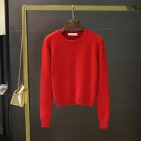 秋冬季新品女装长袖高腰红色毛衣套头加厚保暖2018短款针织打底衫yly M 短款