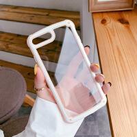 简约纯色边框透明手机壳8plus苹果x个性创意小清新XR全包软边7防摔硅胶iPhonex外壳xs m 粉色 6/6s(