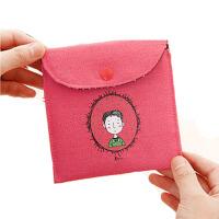 卫生巾收纳包 复古风童年便携零钱收纳盒棉麻卫生棉包生理包四个装旅行装备放姨妈巾的小包 红色 13*12cm