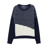 美特斯邦威毛衣女装冬季大色块圆领长袖针织线衫