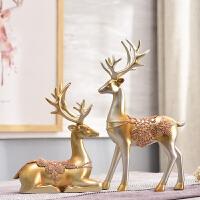 客厅家居装饰品酒柜摆件鹿饰品摆设小欧式办公室玄关室内创意美式
