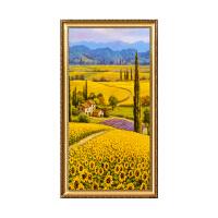 向日葵油画欧式田园风景挂画玄关柜餐厅背景墙壁画横幅定制 B款 古典鎏金外框 带框100x200 单幅