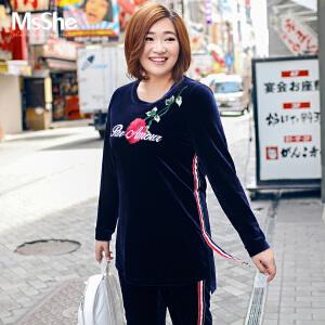 MsShe加大码女装2017新款秋装弹力针织丝绒刺绣t恤M1740622