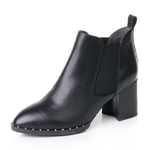 Belle/百丽2017冬优雅知性油皮牛皮女短靴BWH45DD7