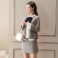 韩版女装时尚小香风毛呢连衣裙两件套装裙女2018春装新款气质