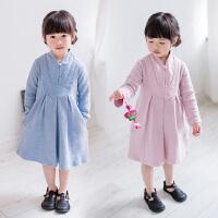 女童复古连衣裙年秋季新款儿童中国风民国格子长袖纯色公主裙
