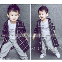 3岁左右男宝宝格子套装 韩版内外景拍照摄影服装新款 好搭配款式