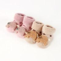 2双0-12个月秋冬厚男女宝宝新生婴儿童地板鞋袜子松口防滑底 毛圈大象女宝