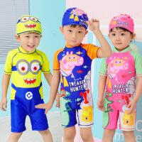 韩版卡通儿童分体泳衣 平角泳裤 男童宝宝婴儿幼儿游泳衣 表演服