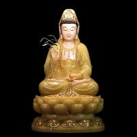 汉白玉佛像摆件黄玉镶金观世音菩萨石雕娑婆三圣神像观音佛像坐像