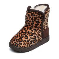 雪地靴儿童棉鞋短靴豹纹毛绒韩版保暖女童靴子2018冬季中筒靴棉布雪