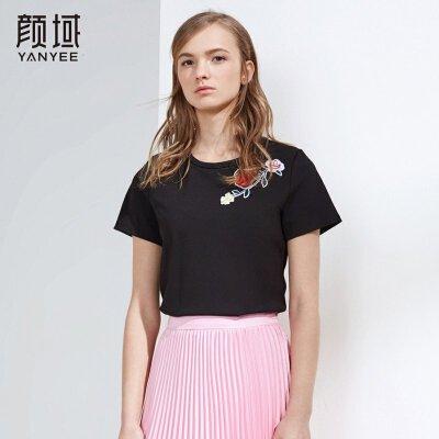 颜域品牌女装2018夏装新款黑色宽松短袖圆领T恤女短款绣花薄上衣