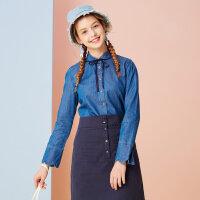 【满1000减750】美特斯邦威牛仔衬衫女甜美春装新款韩版娃娃领打底衫荷叶袖