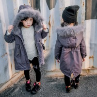 韩国冬季新款女童真毛领中长款儿童羽绒棉连帽外套B9-T27