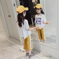 大童女装夏装两件套女童运动套装夏季韩版时髦短袖中大童