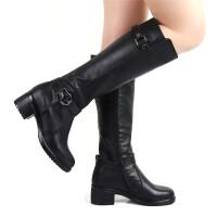 长靴女秋冬季大筒围女靴胖mm粗腿真皮骑士靴子长筒靴粗跟高筒马靴SN9246