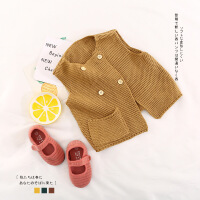 2018春款纯棉羊毛双排扣马甲韩版毛线背心婴幼童宝宝开衫