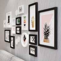客厅餐厅简约现代装饰画墙壁创意组合挂画个性黑白墙面挂墙墙画 158*69