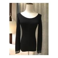 保暖内衣女薄款圆领紧身黑色蕾丝花边秋冬打底衫长袖秋衣上衣 均码
