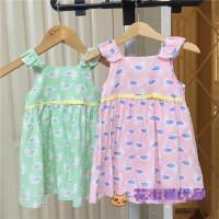 纯元 女童宝宝纯棉布粉色嫩绿色花裙子背心吊带裙夏季 单层薄