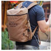 时尚双肩包男士背休闲电脑包潮流旅行包包帆布包学生书包男