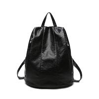 双肩包女士包包韩版个性百搭防盗软皮旅行包新款潮女小背包 黑色 小号