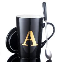 创意姓氏字母马克杯欧式陶瓷杯子带盖勺咖啡杯办公室水杯