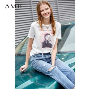 【到手价:76.9元】Amii极简chic潮ulzzang港风T恤2019夏新休闲宽松圆领印花短袖上衣