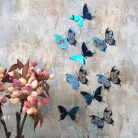 家居生活用品不锈钢蝴蝶墙纸自粘3d立体贴画墙贴卧室仙女房间墙上墙壁装饰ins 中 宝蓝色 12只装(两款各6