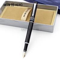正品HERO英雄钢笔7022世纪纯黑/冰花铱金笔 钢笔 墨水笔 练字专用