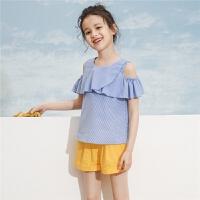 女童短袖衬衫拉夏贝尔童装2019夏季新款蓝白条纹学院洋气公主打底