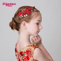 女童头饰品发卡表演花童发饰发夹儿童头饰红色花朵发饰