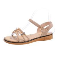 WARORWAR 法国YN38-268夏季韩版平底舒适水钻女凉鞋