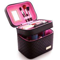 新款化妆箱多层大号大容量简约多功能手提便携化妆品护肤品收纳包 格纹黑双层 主图款 大容量