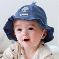 宝宝帽子秋冬0-3-6-18个月婴儿遮阳帽秋天盆帽男女儿童渔夫帽冬天